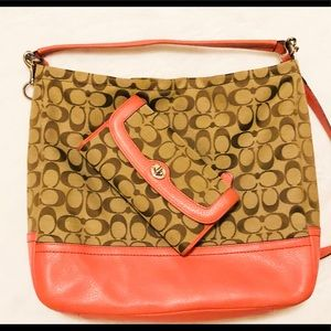 Coach signature bag & matching wallet set